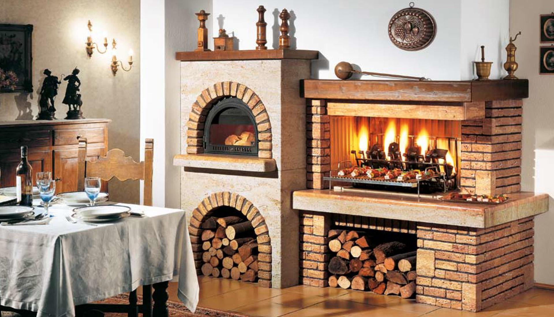 Camini a legna da cottura il caminetto - Cucine con camino ...